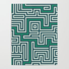 Meandering round lines green & white Poster
