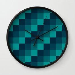 Ocean Waves - Pixel patten in dark blue Wall Clock