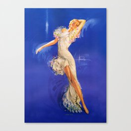 """""""Rhapsody in Blue"""" Pinup by Rolf Armstrong Canvas Print"""