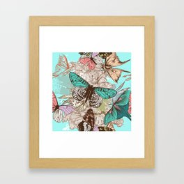 Beautiful print with hand drawn butterflies in vintage style Framed Art Print