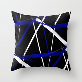Seamless Royal Blue and White Stripes on A Black Background Throw Pillow