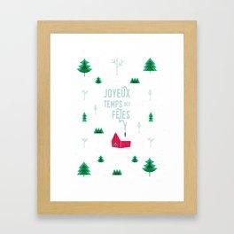 Joyeux temps des fêtes — Little shack in the woods Framed Art Print