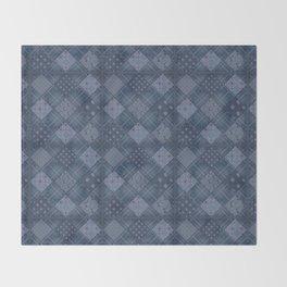 Seamless jeans denim patchwork pattern background Throw Blanket