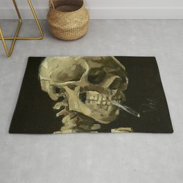 SKULL OF A SKELETON WITH BURNING CIGARETTE - VINCENT VAN GOGH Rug