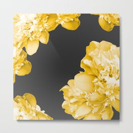 Yellow Flowers On A Dark Background #decor #society #homedecor Metal Print