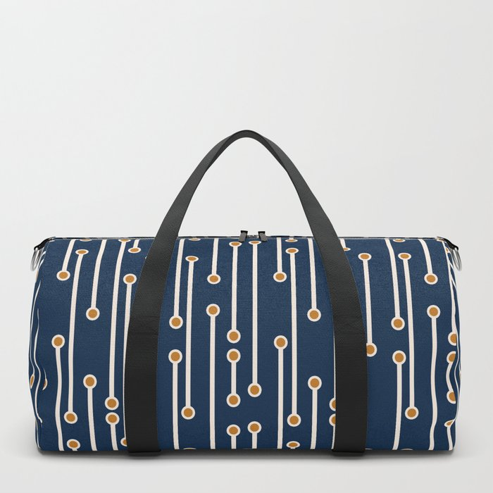 Dotted Lines in Navy, Cream and Orange Duffle Bag