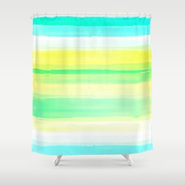Abstract Colorful Watercolor Stripes Pattern Shower Curtain