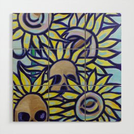 S is for Sunflowers and Skulls Wood Wall Art