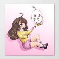 bee and puppycat Canvas Prints featuring bee and puppycat by Diogo Dornelles