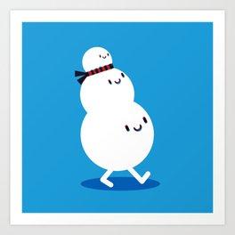 snowman walk Art Print