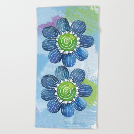 Blue Whimsy Beach Towel