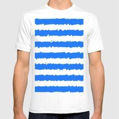 Blue Stripes MEDIUM Mens Fitted Tee White