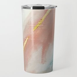 Celestial [3]: a minimal abstract mixed-media piece in Pink, Blue, and gold by Alyssa Hamilton Art Travel Mug