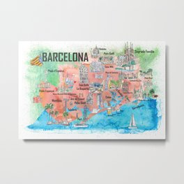 Barcelona Catalonia Spain Illustrated Travel Poster Favorite Map Tourist Highlights Metal Print