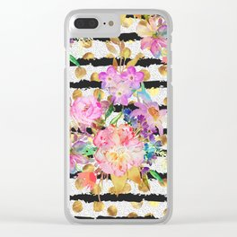 Elegant spring flowers and stripes design Clear iPhone Case