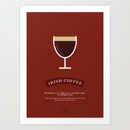 Irish Coffee Cocktail Recipe Art Print Art Print