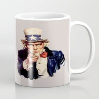 sam smith Mugs featuring Uncle Sam by ArtSchool