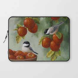 Chickadees and Apple Tree Harvest Laptop Sleeve