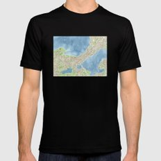 City Map Madison Wisconsin watercolor  Mens Fitted Tee MEDIUM Black