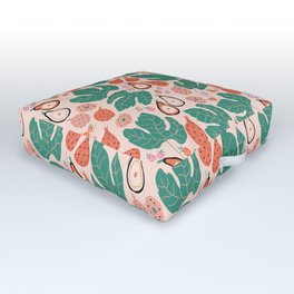 Summer Dive Collection // Fruits & large leaves // Seamless Pattern Outdoor Floor Cushion