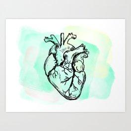 Aqua heart Art Print