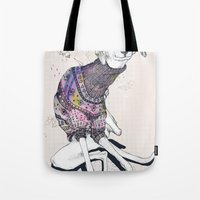 dog Tote Bags featuring Dog by Anion
