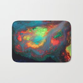 """Titan"" Mixed media color on canvas, abstract painting red blue green yellow contemporary art Bath Mat"