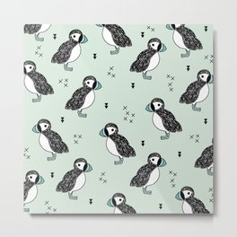 Cute Icelandic Puffin birds mint pattern Metal Print