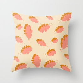 Fall pattern pink mustard oak leaves Throw Pillow