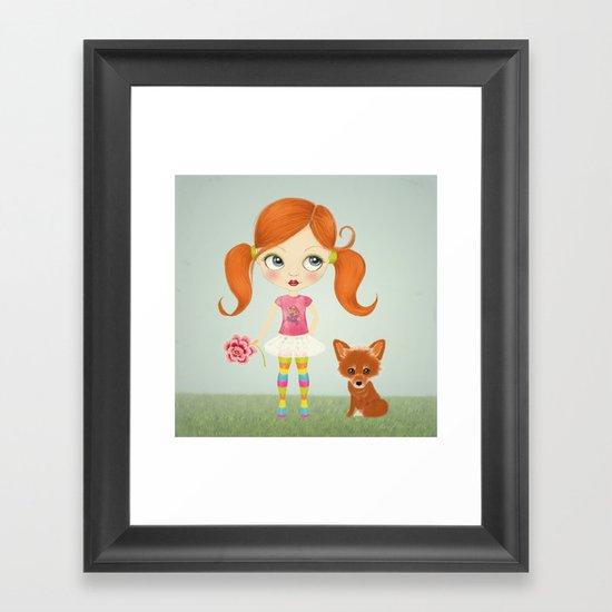 Girl and Fox Framed Art Print