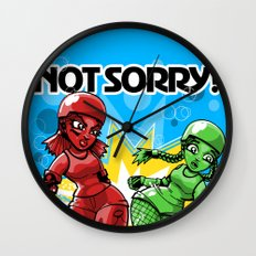 Not Sorry Roller Derby Art by RonkyTonk Wall Clock