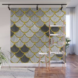 Dragon Scales with Yellow Outlines Wall Mural