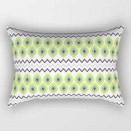 Abstract avocado green black geometric zigzag stripes pattern Rectangular Pillow