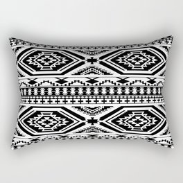 Aztec Geometric Print - Black Rectangular Pillow