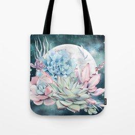 Beautiful Succulents Full Moon Teal Pink Tote Bag