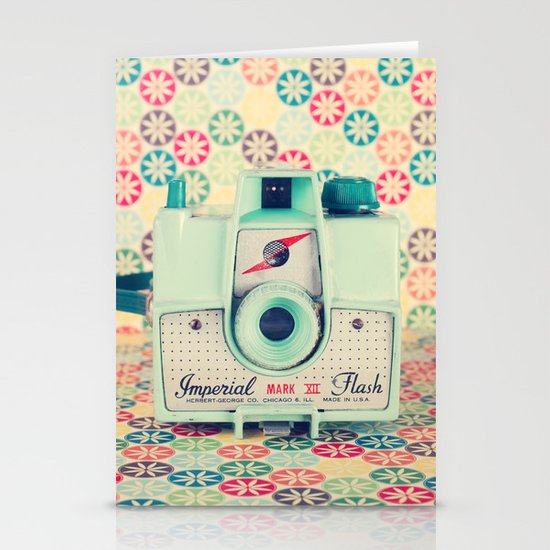 Film Mint Camera on a Colourful Retro Background  Stationery Cards