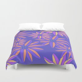 Blue Small Bright Flowers Digital Pattern Duvet Cover
