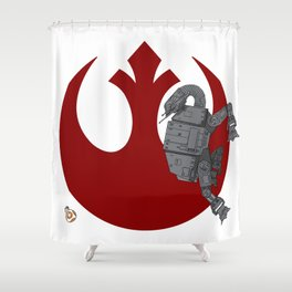 Droid Eek! (red) - BB8 and AT-AT Standoff Shower Curtain