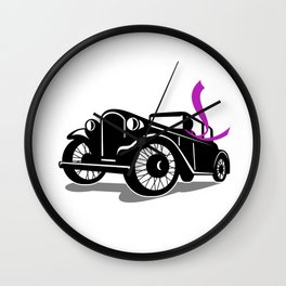 Vintage Coupe With Flowing Scarf Retro Wall Clock