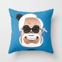 hayao miyazaki Throw Pillows featuring Dōmo Arigatō Hayao Miyazaki (Color version) by Arian Noveir