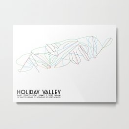 Holiday Valley, NY - Minimalist Trail Art Metal Print