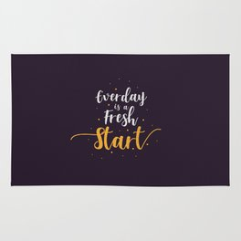 Everyday is a fresh start quote motivation typography Rug