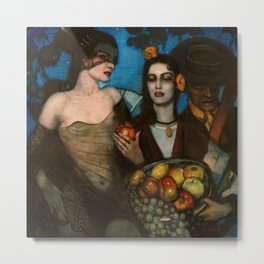 Granada, Spain Starry Sky Portrait with Two Women & Fruit Basket by Federico Beltran Masses Metal Print
