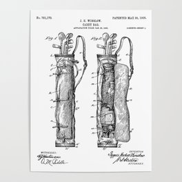Golf Bag Patent - Caddy Art - Black And White Poster
