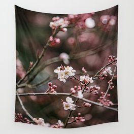 Pink Plum Blossoms Wall Tapestry