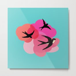 Spring swallows and clouds Metal Print