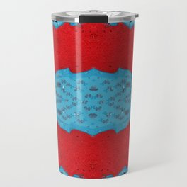 Red Stream Marble Painting Travel Mug