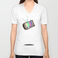 tv V-neck T-shirts featuring tv by Nate Galbraith