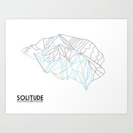 Solitude, UT - Minimalist Winter Trail Art Art Print