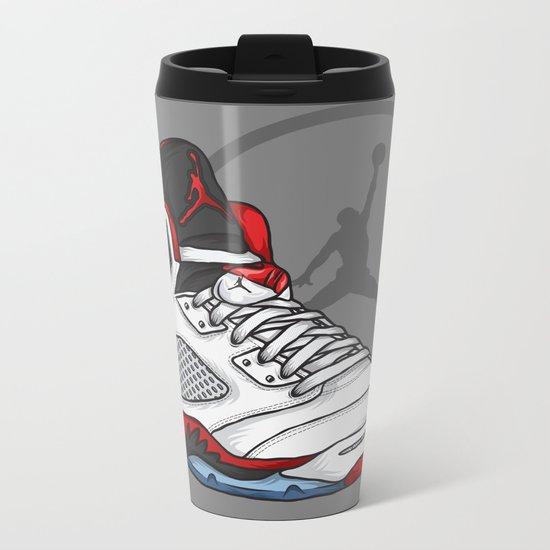 Jordan 5 (Fire Reds) Metal Travel Mug